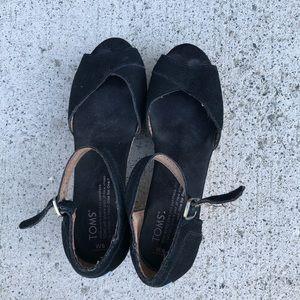 Toms black wedge heels